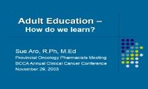 Adult Education BC Cancer Agency PowerPoint Presentation