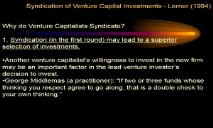 Syndication of Venture Capital Investments PowerPoint Presentation