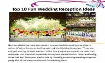 Fun Wedding Reception Ideas PowerPoint Presentation