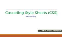 Cascading Style Sheets CSS PowerPoint Presentation