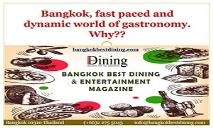 Bangkok, fast paced and dynamic world of gastronomy. Why?? PowerPoint Presentation