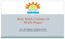 Best MBA College in Modi Nagar PowerPoint Presentation
