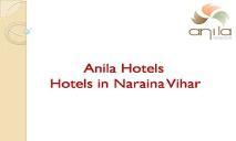 Anila hotel - Restaurant in Naraina PowerPoint Presentation
