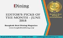 Dining in Bangkok with BBD Magazine PowerPoint Presentation