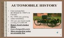 AUTOMOBILE HISTORY PowerPoint Presentation
