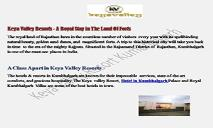 Keya Valley Resorts - A Royal Stay in The Land Of Forts PowerPoint Presentation