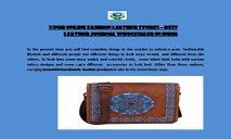Your Online Shaista Handicraft Fashion Leather Store – Best Leather journal Wholesaler in India PowerPoint Presentation