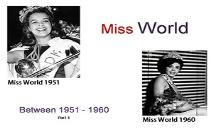 Miss World Winners (Between 1951 to 1960) PowerPoint Presentation