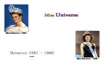 Miss Universe Winners (Between 1981 to 1990) PowerPoint Presentation
