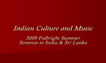 Indian Culture and Music PowerPoint Presentation