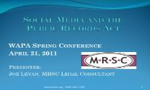 Social Media and the Public Records Act PowerPoint Presentation