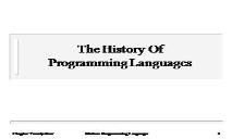 Programming Languages History PowerPoint Presentation