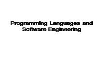 Programmings Languages and Software Engineering PowerPoint Presentation