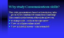 Why study communication skills PowerPoint Presentation