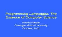Programming Languages (The Essence of Computer Science) PowerPoint Presentation