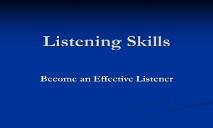 Listening Skills PowerPoint Presentation
