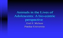 Animals in the Lives of Adolescents PowerPoint Presentation