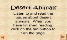 Desert Animals PowerPoint Presentation