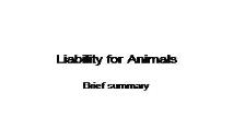 Liability for Animals PowerPoint Presentation