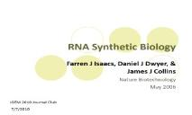 RNA Synthetic Biology PowerPoint Presentation