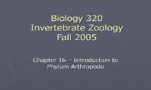 Biology 320 Invertebrate Zoology Fall 2005 PowerPoint Presentation
