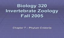 Biology 320 Invertebrate Zoology Falls 2005 PowerPoint Presentation