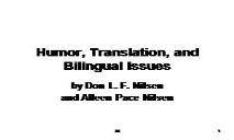 Humor translation PowerPoint Presentation