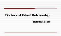 Doctor and Patient Relationship PowerPoint Presentation