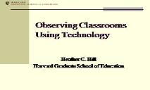 Observing Classrooms Using Technology PowerPoint Presentation