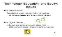 Technology Education and Equity PowerPoint Presentation